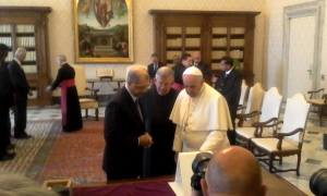 President Michel and Pope Francis exchange gifts right in front of me!