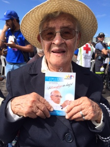 Alejandrina Zevallos, 92, who grew up in Peru's rural highlands, came to see the pope who had taken the name of the saint she called
