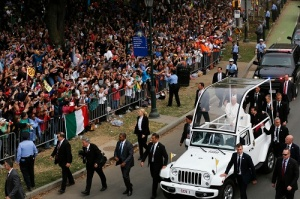 Pope Francis arrives in the popemobile for the closing Mass of the World Meeting of Families in Philadelphia Sept. 27. (CNS photo/Bob Roller) See POPE-FAMILY-MASS Sept. 27, 2015.