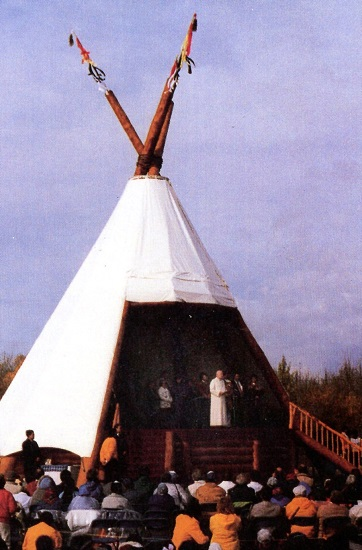 Pope John Paul II's altar platform included a giant teepee. (CNS photo/Brad Reynolds, S.J.)