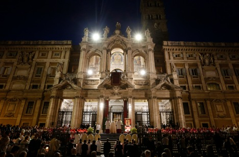 Pope Francis leads Benediction outside Basilica of St. Mary Major in Rome