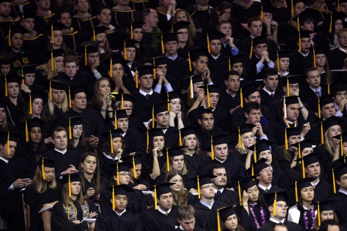 University of Notre Dame graduates at a commencement ceremony. (CNS file photo)