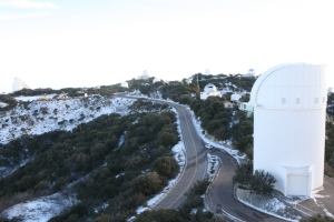 The telescopes at Kitt Peak National Observatory in southern Arizona. (CNS photo/Dennis Sadowski
