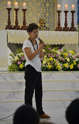 Concepcion Martinez Narvios talks at her parish about helping to rehabilitate prostitutes. (CNS photo/Simone Orendain)