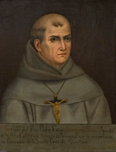 A painting of St. Junipero Serra hangs in the Santa Barbara Mission Archives-Library in Santa Barbara, Calif. (CNS photo/Nancy Wiechec) See SERRA-IMAGES Aug. 17, 2015.