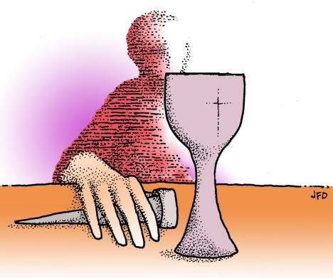 """""""And yet behold, the hand of the one who is to betray me is with me on the table."""" -- Luke 22:21"""