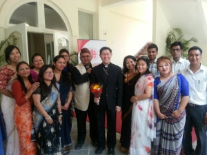 Cardinal Tagle is welcomed by the staff of Caritas Nepal. (Photo courtesy Michelle Hough, Caritas Internationalis)