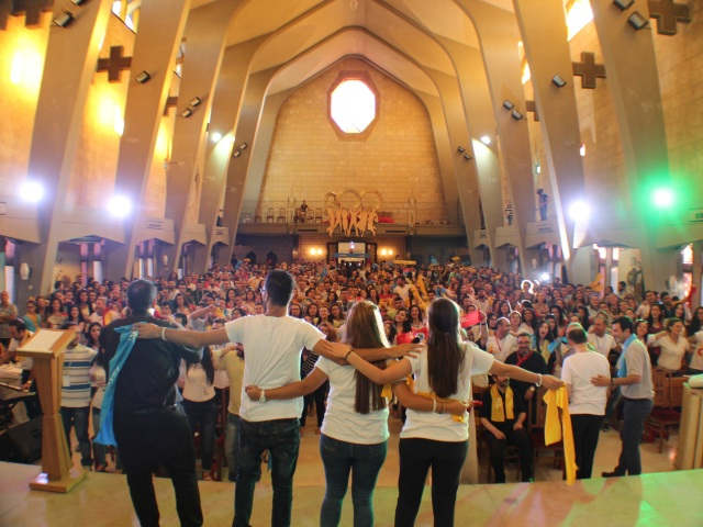 Young people in Aleppo, Syria, gathered at Santa Matilde church for a parallel World Youth Day celebration. (CNS photo/courtesy Krakow 2016 International Media Team)