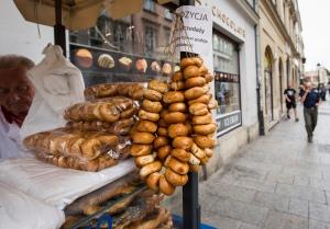 Obwarzanki for sale in central Krakow. (CNS photo/Nancy Wiechec)