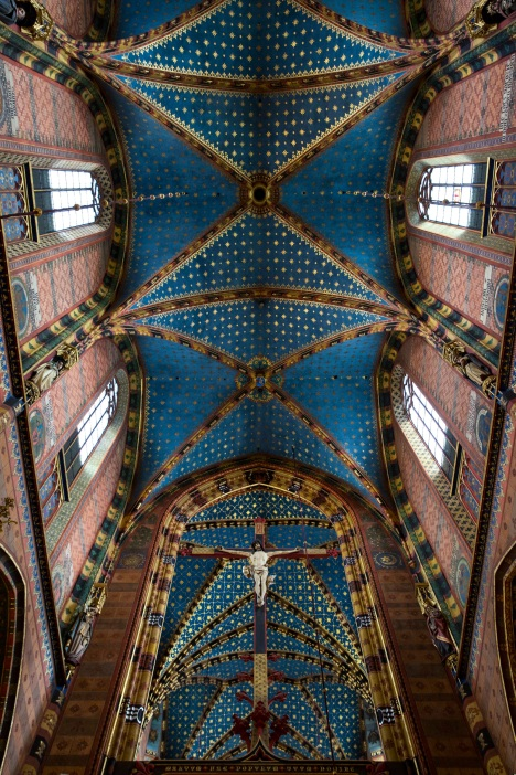 This is an interior view taken in early September of St. Mary's Basilica in Krakow, Poland. (CNS photo/Nancy Wiechec)