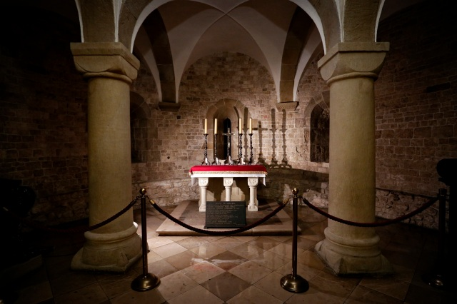 St. Leonard's Crypt below Wawel Cathedral dates to the 11th century. It holds the tombs of Polish royalty and military heroes. Father Karol Wotyla (St. John Paul II) celebrated his first Mass as a priest in the crypt. The city, once the royal capital of Poland, will host the international World Youth Day in July. (CNS photo/Nancy Wiechec)