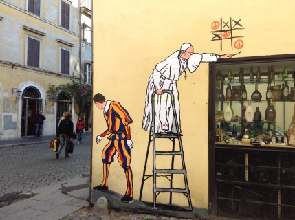 A removable paper art piece by Rome artist Mauro Pallotta. (CNS photo/ Carol Glatz)