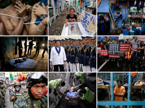 Images from the Philippines' war on drugs. (CNS layout/Images by Reauters, EPA)