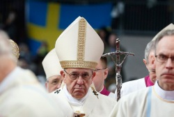 Pope Francis arrives for Mass in Malmo, Sweden, Nov. 1. (CNS/Paul Haring)