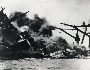 A ship is seen sinking during the Japanese attack on Pearl Harbor Dec. 7, 1941. (CNS photo/Pearl Harbor Museum)