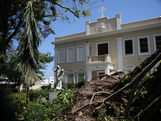An uprooted tree is seen in front of the Catholic chancery in San Juan, Puerto Rico, Oct. 20, a month after Hurricane Maria devastated the island. (CNS/Bob Roller)