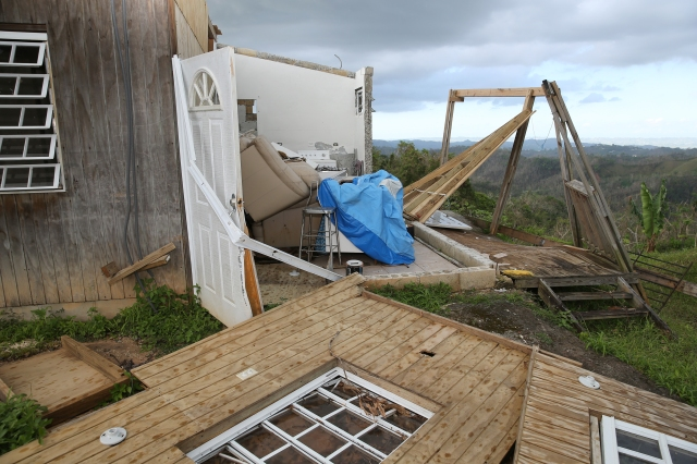 A destroyed home is seen Oct. 24 in a remote area outside Las Marias, Puerto Rico, more than one month after Hurricane Maria devastated the island. (CNS photo/Bob Roller)